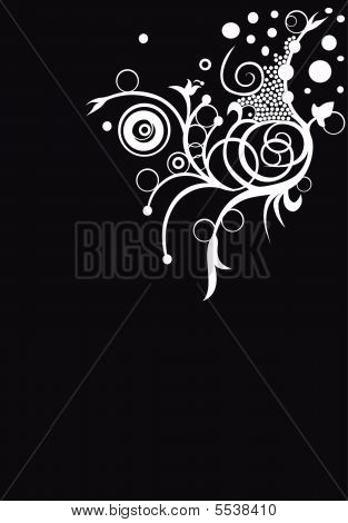 Mystical Black Vector Image With Ringlets
