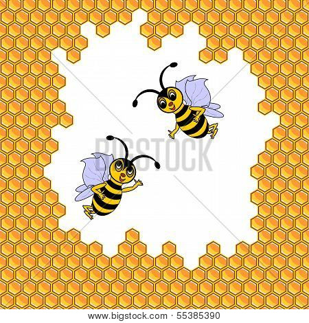 Two funny cartoon bees surrounded by honeycombs. Vector-art illustration poster
