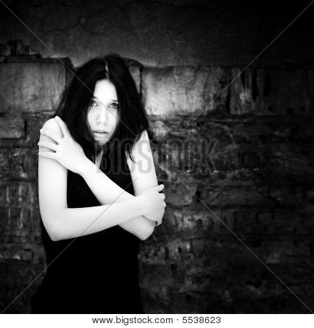 Young Scared Woman Portrait