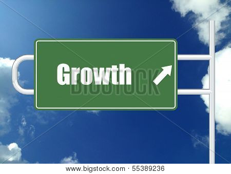 Growth road sign board
