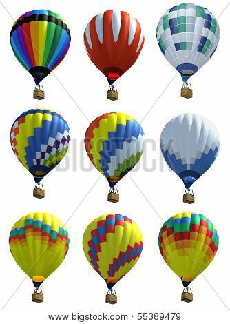 Isolated Hot Air Balloons