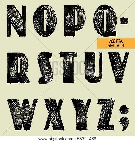 art sketched set of vector character simple font, uppercase symbols, part 2