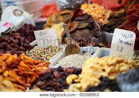 Dried Fruits On Display At A Market