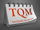 TQM -  Total Quality Management - Red Text on White Desktop Calendar. poster