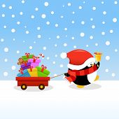 Cute little penguin delivering christmas gifts with wheelbarrow. poster
