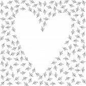 little white leaves monochrome graphic love feelings wedding invitation card romantic delicate background on white poster