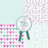 blue pink white romantic messy heart pattern scrapbook paper set with retro shaped crackle you and me label with blue ribbon poster