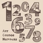 Vector grunge scratched numbers. Use for design. poster