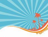 Palm tree, summer background art vector illustration poster