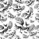 """Seamless chinese dragon-bird grunge pattern (From my big """"Seamless collection"""") poster"""