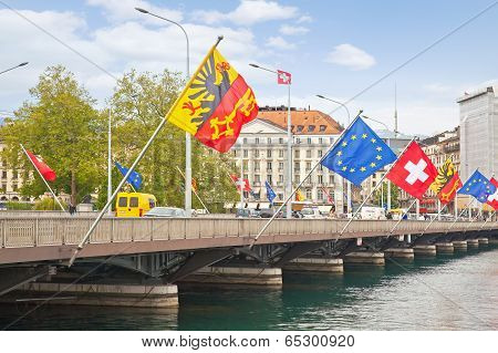 Geneva. Bridge across the river Rhone