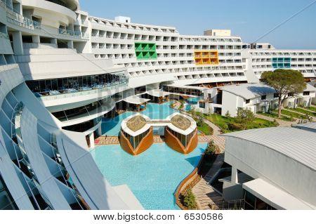 Main Building Of  Modern Mediterranean Turkish Hotel