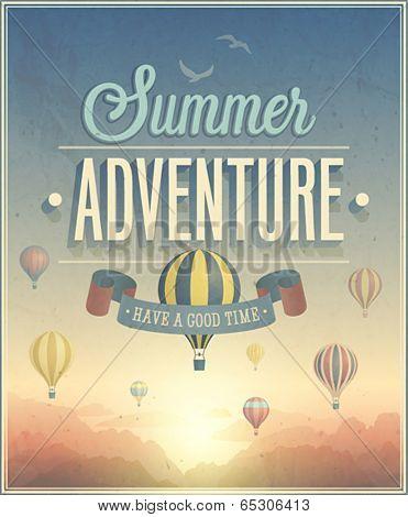 Summer Adventure poster. Vector illustration.