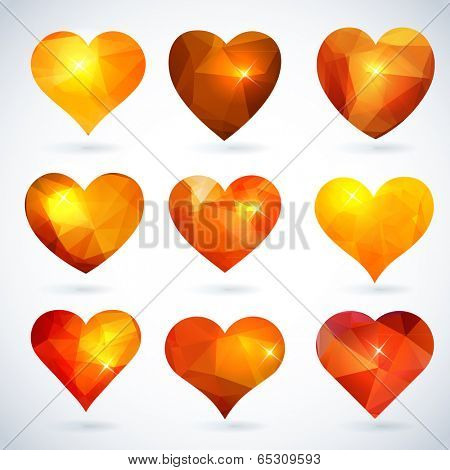 Vector polygonal triangle shiny love hearts of valentines day or amour wedding.
