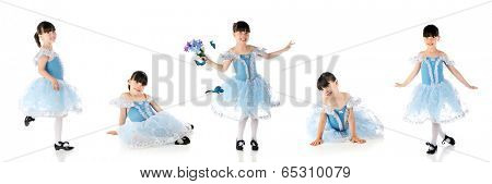 Panel of five poses for a young tap dancer.  On a white background.