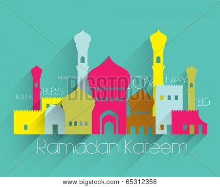 Vector Flat Muslim Mosque Graphics. Translation: Ramadan Kareem - May Generosity Bless You During The Holy Month.
