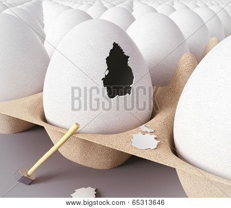 Escape from the egg. 3d concept