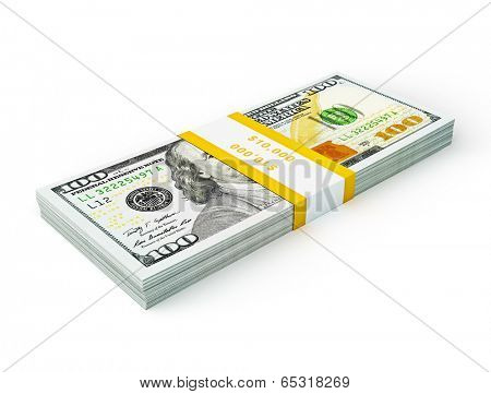 US dollars banknotes Creative business finance making money concept - stack of new new 100 US dollars 2013 edition banknotes (bills) stack bundle isolated on white background money stack on white