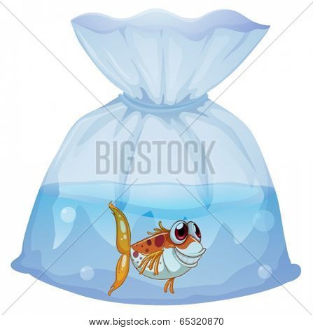 Illustration of a fish inside the plastic on a white background