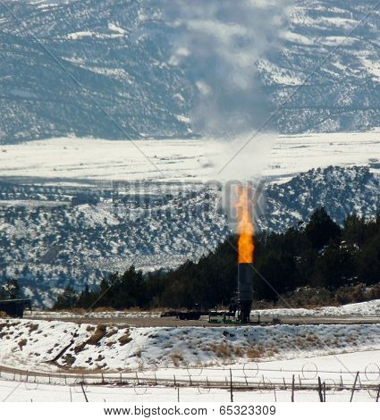 Flaring at Natural Gas Well