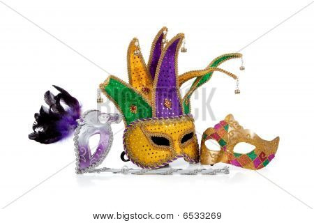 Several Mardi Gras Masks On White With Copy Space