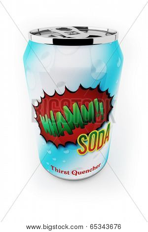 Fictional soda can up close over white background poster