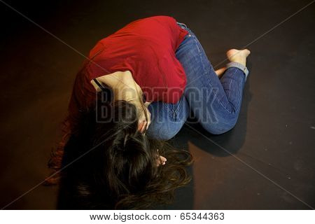 Woman Laying On The Ground On Street After Sexual Violence