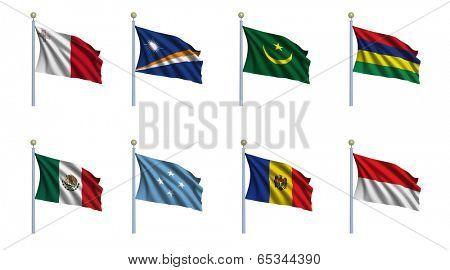 World flag set 15 - Malta, Marshall Islands, Mauritania, Mauritius, Mexico, Federated States of Micronesia, Moldova, Monaco