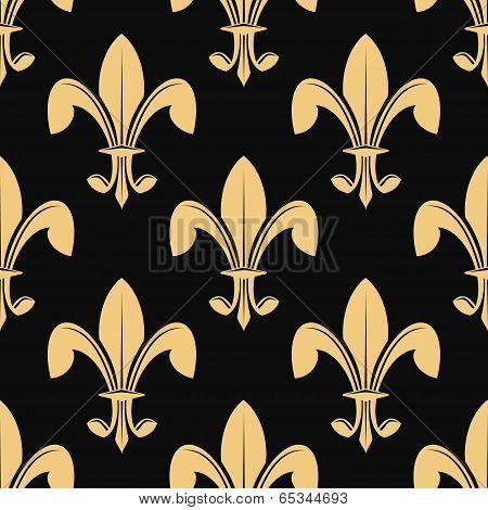 Seamless pattern of classical golden fleur de lys