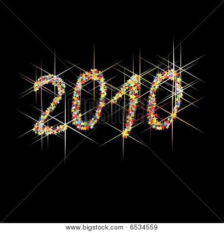 Colorful vector illustration New Year fireworks, illustration poster