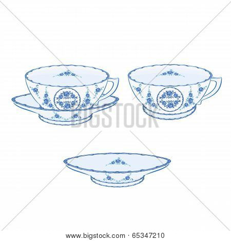 Cup Faience  Vector Without Gradients