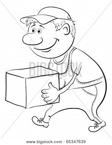 Porter carries a box, outline