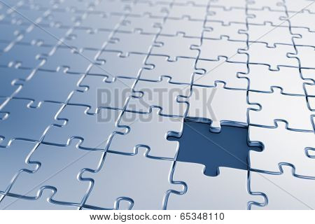 Blank puzzle with a missing piece - shallow depth of field
