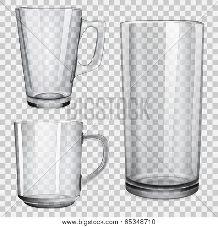Two Transparent Glass Cups And One Glass For Juice