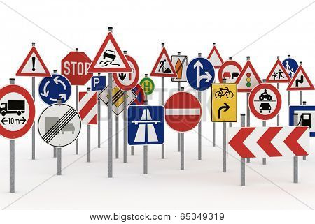 Too many traffic signs on white background