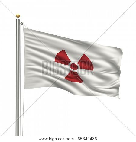 Flag of Japan with a radio activity warning on it