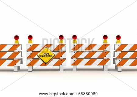 A line of barriers with under construction sign