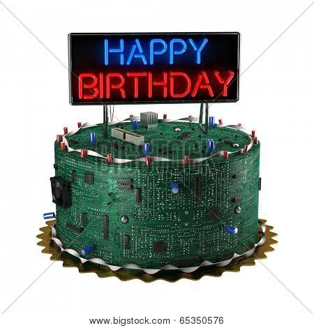 Fun birthday cake for geeks isolated over white background