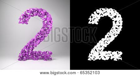 The number two made out of smaller numbers twos in a studio setting with alpha matte for easy isolation