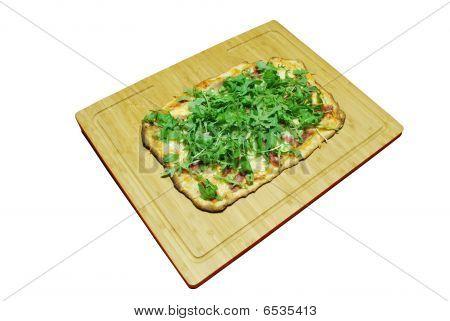 3-cheese Pizza With Prosciutto And Arugula (homemade)
