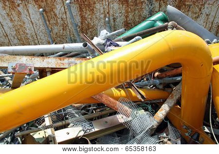 Gas Pipe In A Landfill Of Waste Of Ferrous Material