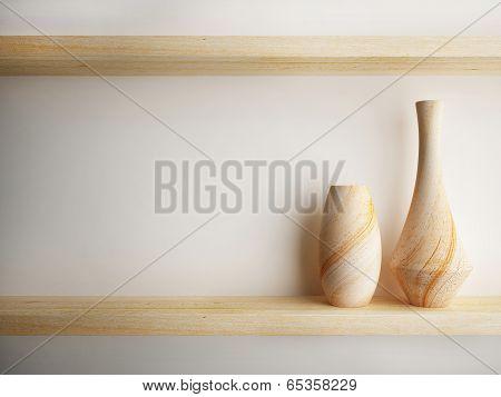 Vase Wood On Shelf Decorate Design
