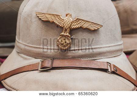 Nazi Helmet On Display At Militalia In Milan, Italy