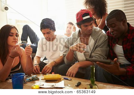 Gang Of Young People With Drugs And Gun