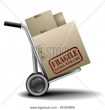 detailed illustration of a handtruck or trolley with cardboxes with fragile label on them, eps 10 vector