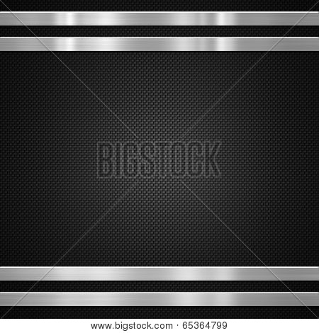 Metal bars on carbon fibre background or texture