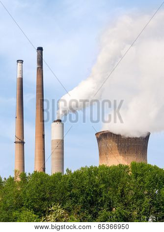 Smoke Stacks And Cooling Tower