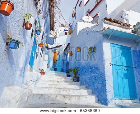 An alleyway in the medina, Chefchaouen, Morocco
