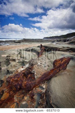 old anchor on the beach