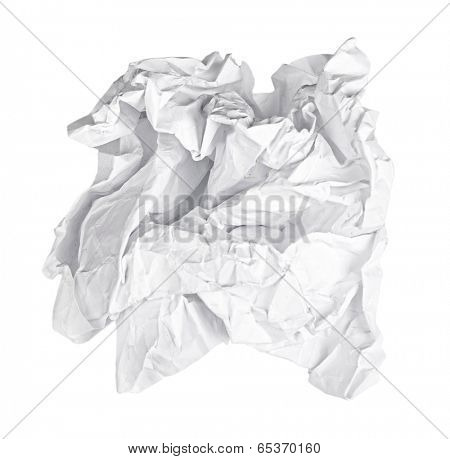 Screwed up piece of white paper isolated